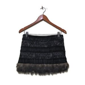 Bebe multilayer real feather rare lace mini skirt